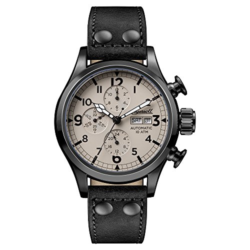 Ingersoll Men's Automatic Stainless Steel and Leather Casual Watch, Color:Black (Model: I02202)