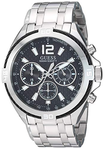 GUESS  Stainless Steel + Black Chronograph Bracelet Watch. Color: Silver-Tone (Model: U1258G1)