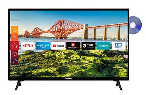 Telefunken XH24J501VD 24 inch televisie (Smart TV incl. Prime Video/Netflix/YouTube, HD ready, DVD-speler, 12 Volt…