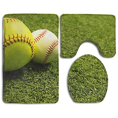 (gineaqw Soft Toilet Rug Non-Slip 3 Piece Bath Rug Set Grass Baseball Softball Bathroom Rug Mats Set 3 Piece)
