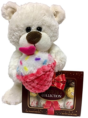 12 Inch White Plush Teddy Bear With Cupcake, Ferrero Rocher Assorted Chocolates - Valentine, Get Well, Birthday Gift (White Bear)