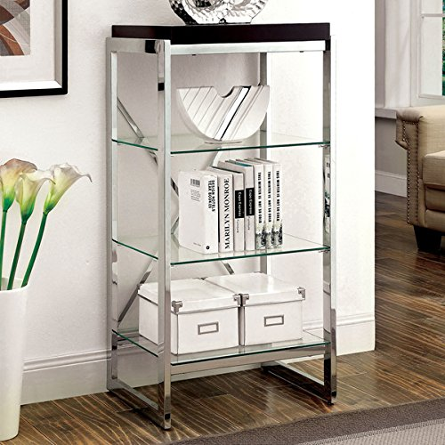 Furniture of America Jacie Contemporary Chrome 3-shelf Pier Cabinet (Slanted Speaker Cabinet)