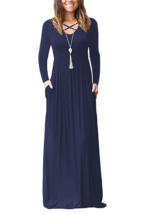 Women's Long Sleeve Loose Plain Casual Maxi Dresses