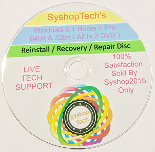 Windows 8 32-bit & 64-Bit All Editions Recovery Reinstall DVD Disc WINDOWS 8 ANY Version Repair, Recovery, Restore, Re-install & Reboot Fix DVD Free Messaging Tech Support For Syshop2015 Buyers Only