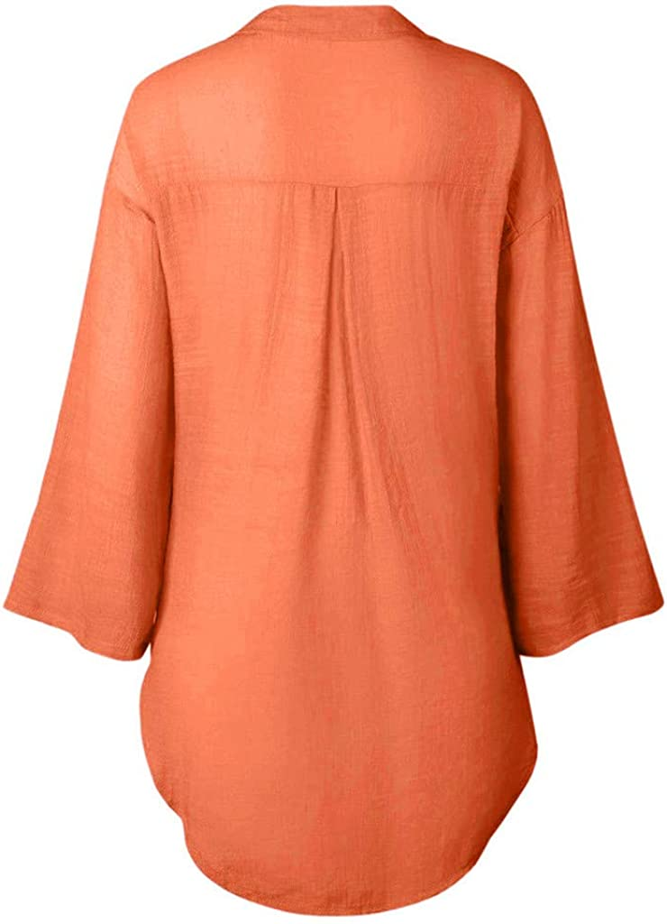 COOLLL Plus Size Womens Loose V-Neck Button Solid Color Long Shirts Dress Ladies Baggy Cotton Linens Half Sleeve Bow Casual Wild Blouse Tops T-Shirt for Work Vintage,Juniors Teen Girls Cardigan