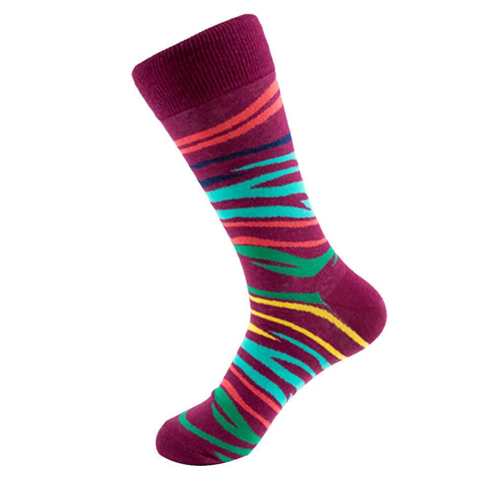 Mlide Cotton Dress Socks-Autumn Colorful Socks for Men-Camouflage&Panda&Leopard(Wine)