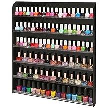(102 Bottles) Black Acrylic 6 Shelf Wall Mounted Salon Style Nail Polish Rack Storage Organizer Display