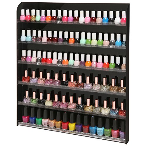 MyGift (102 Bottles) Black Acrylic 6 Shelf Wall Mounted Salon Style Nail Polish Rack Storage Organizer Display