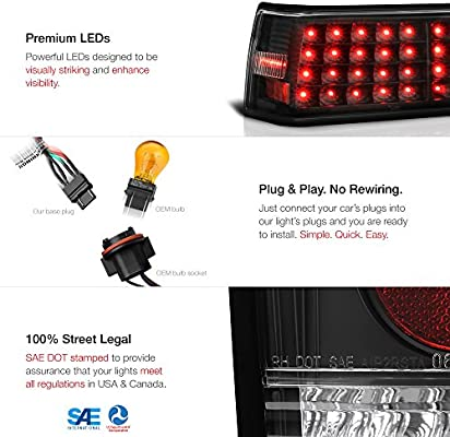 DNA Motoring TL-LED-FM87-BK LED Tail Brake Lights Driver /& Passenger Side