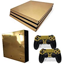 Chickwin PS4 Pro Vinyl Skin Full Body Cover Sticker Decal For Sony Playstation 4 Pro Console and 2 Dualshock Controller Skins (Gold Glossy)