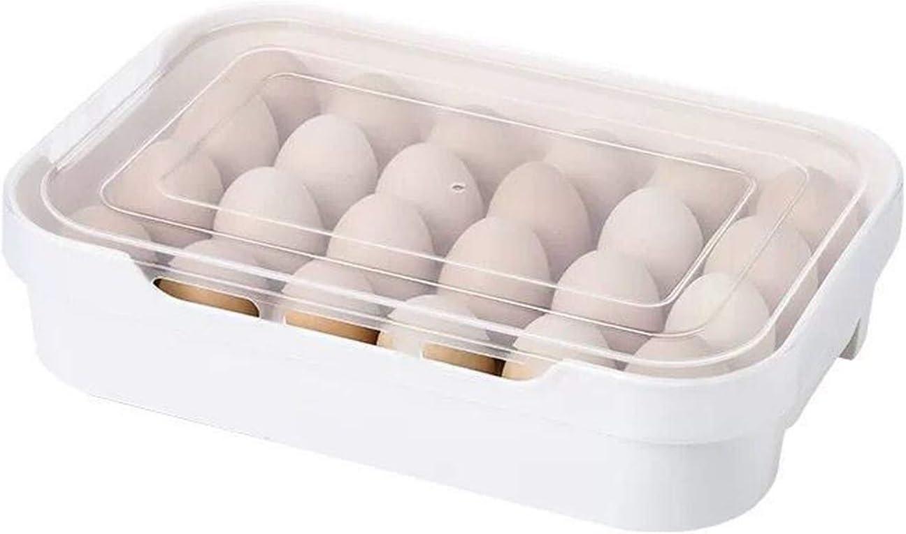 Diyalor Egg Holder for Refrigerator,Refrigerator Organizer Egg Tray with Lid,Holds up to 24 Eggs