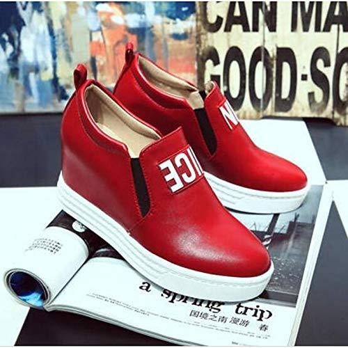 di con Chiusura chiusa Primavera Nero fibbia Red cinghiale zeppa da Rosso Pelle Zeppa Estate Sneakers Comfort Bianco Scarpe donna ZHZNVX con OYg6paI6