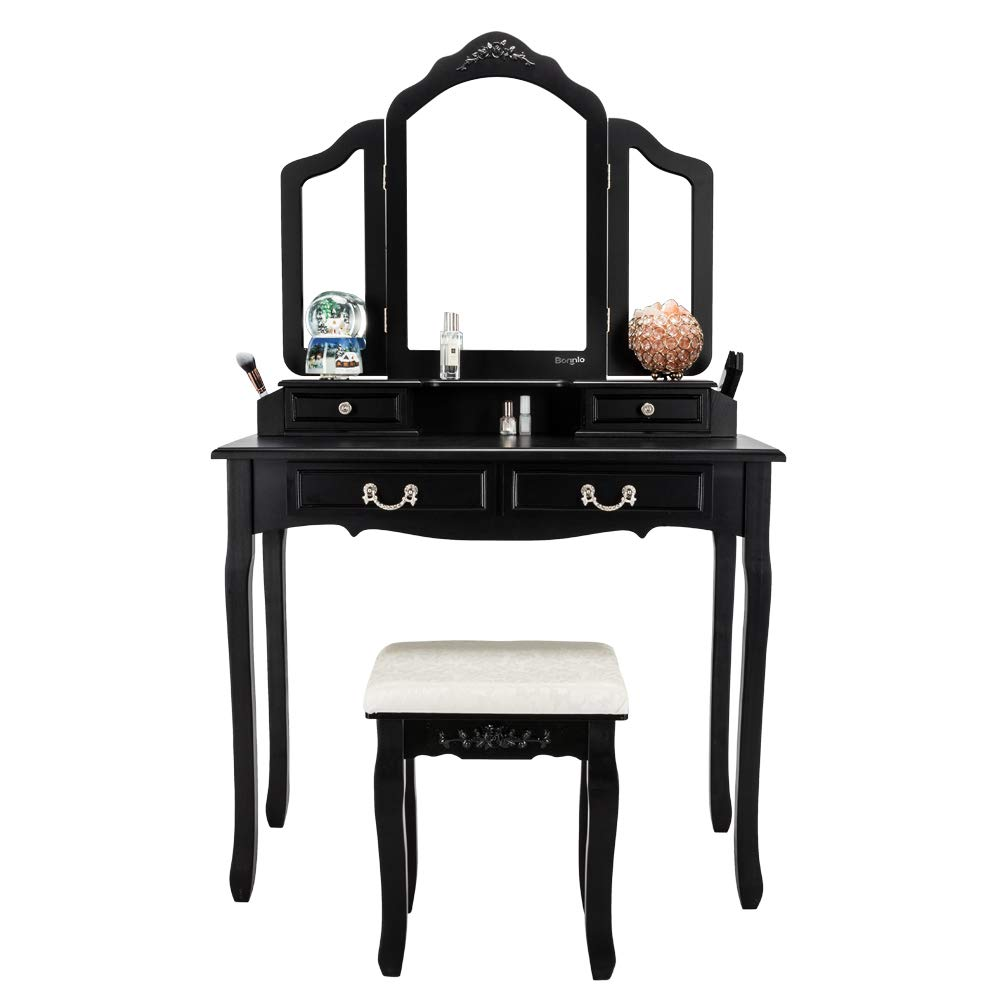 Bonnlo Vanity Table Set with 4 Drawers Tri-Folding Mirror Makeup Dressing Table with Vanity Cushioned Stool,Bedroom Vanity Table with Necklace Hooks&Brush Holder for Girls/Women by Bonnlo
