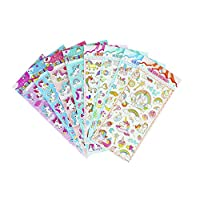 HighMount Happy Unicorn Stickers 8 Sheets with Rainbow Star Moon Cloud - Foam Unicorn Faces Decals for Kids Scarpbooking Crafts - 220 Stickers