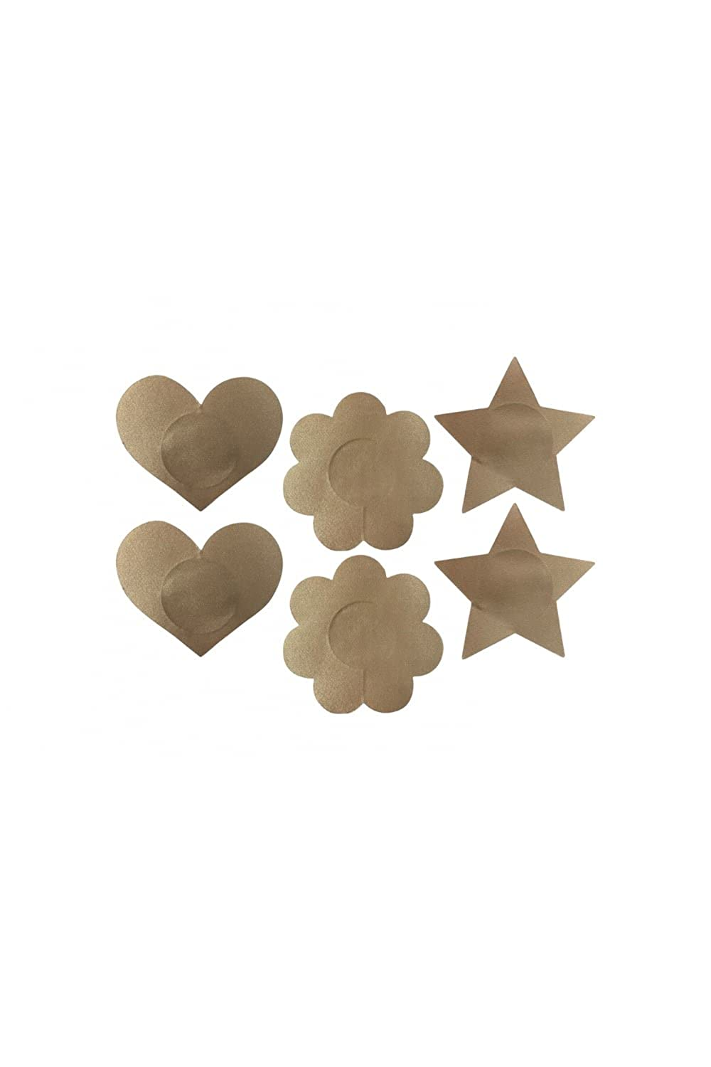 Camille Beige Fabric Pack of Three Assorted Shape Nipple Covers Camille Beige Fabric Pack of Three Assorted Shape Nipple Covers One Size