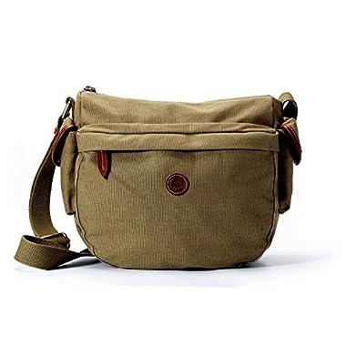 La Poet Women's Water Resistant Canvas Leather Trim Cross Body Bag (Olive)
