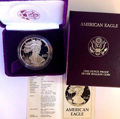 1986 1986 S 1oz Proof Silver Coin $1 American Eagle Un coin Good