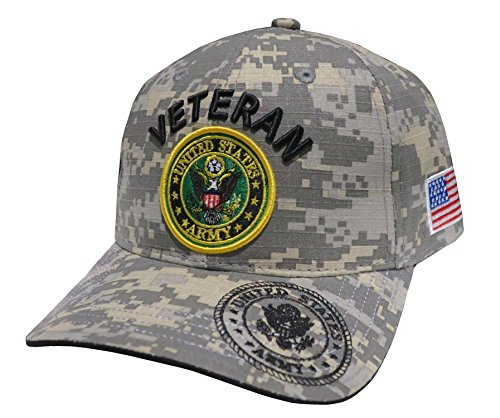 US Armed Forces Embroidered Military Baseball Cap Hat (ARMY Emblem Veteran Universal)