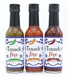 Tenoch Fire Gourmet Hot Pepper Sauce Variety 3-Pack: Garlic Habanero, Chipotle and Jalapeno Pepper Sauces. 5 oz each sauce.