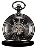 HELMASK pocket watch - Alloy Black Round man mens Analog Mechanical Hand-winding Full hunter Pocket Watch