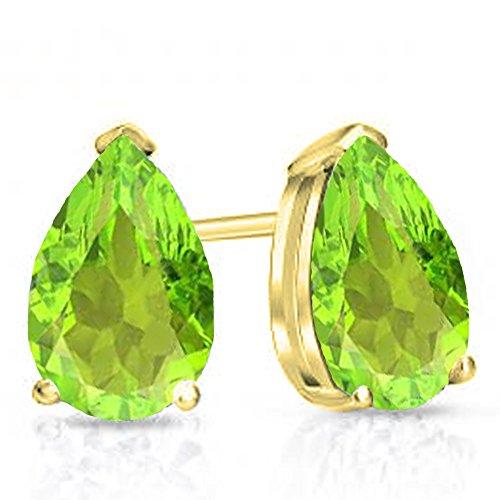 10K Yellow Gold 6x4mm Each Pear Cut Peridot Ladies Solitaire Stud Earrings