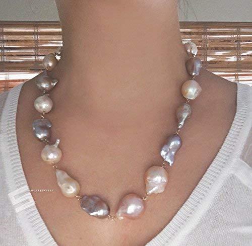 88bdc8dd4df59 Amazon.com: Huge Kasumi Baroque Pearls Necklace, 15-25MM Natural ...