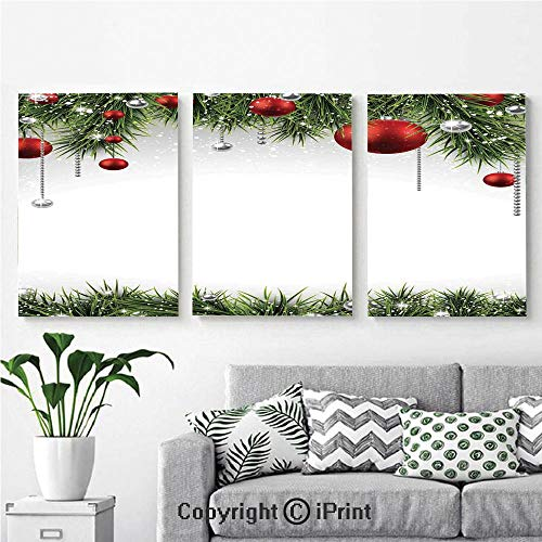 (Canvas Prints Modern Art Framed Wall Mural Classical Christmas Ornaments and Baubles Pine Tree Twig Tinsel Print for Home Decor 3 Panels,Wall Decorations for Living Room Bedroom Dining Room Bathroom)