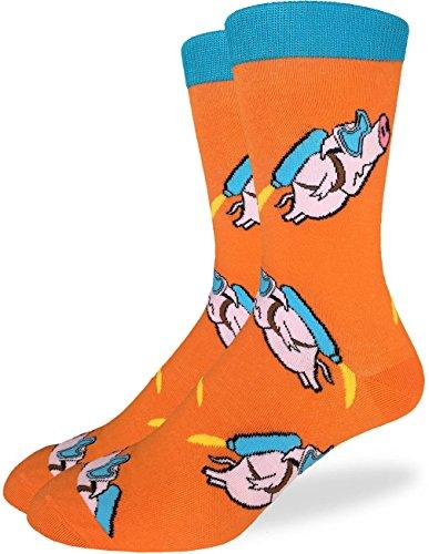 Luck Pig (Good Luck Sock Men's Flying Pigs Crew Socks - Orange, Adult Shoe Size 7-12)