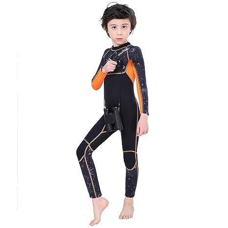 7af5b57ec Full Body Kids Wetsuit Neoprene One Piece Warm Swimsuit 2.5MM for Girls  Boys Children, Long Sleeve UV Protection Swimming Suit Back Zip for Surfing  Scuba ...