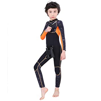 Full Body Kids Wetsuit Neoprene One Piece Warm Swimsuit 2.5MM for Girls Boys Children, Long Sleeve UV Protection Swimming Suit Back Zip for Surfing ...