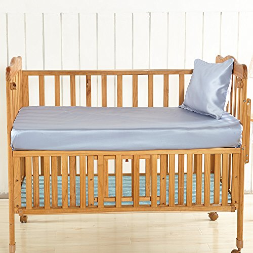 LilySilk Silk Crib Fitted Sheet for Boys Girls Baby Crib Bedding Organic- Super Soft Light Blue 19 Momme Standard 28