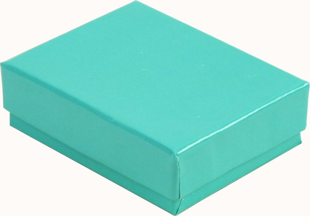 100 Robin's Egg Blue Cotton Charm Jewelry Box Gift Display Case 2 5/8'' x 1 1/2'' x 1''