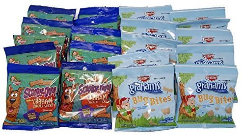 Keebler Graham Bug Bites and Scooby Snacks - Fun Bite size Animal Crackers Individual Package Variety Set - 10 of Each (Set of (Bite Bones)