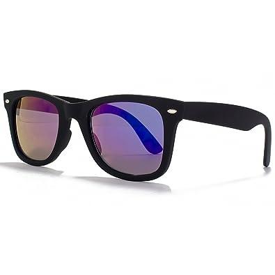 Glare Eyewear Istanbul Wayfarer Sunglasses in Matte Black with a Blue Mirror Lens 3218Black Blue Mirr One Size Blue Mirror yYCumRS
