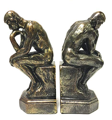 (Bellaa 25594 Rodin The Thinker Statue Bookends Auguste Collectible Figurine)