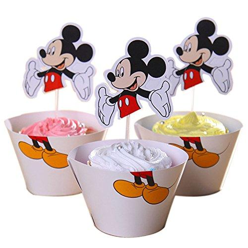 BETOP HOUSE Mickey Mouse Cupcake Wrapper Topper Kit Set of 1 Dozen -