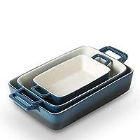 KOOV Bakeware Set, Ceramic Baking Dish, Rectangular Baking Pans Set, Casserole Dish for Cooking, Cake Dinner, Kitchen, Wrapping Upgrade, 12 x 8.5 Inches, 3-Piece (Gradient aegean)