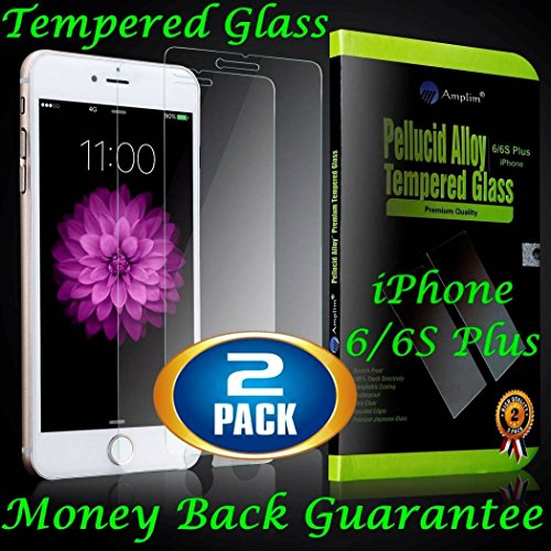 "iPhone 6S Plus (6 Plus) 5.5"" Tempered Glass Screen Protector: Amplim 2-Pack..."