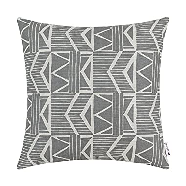 Euphoria CaliTime Cushion Cover Throw Pillow Shell Southwestern Geometric 18 X 18 Inches Gray