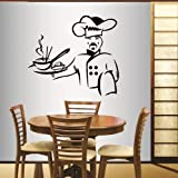 Wall Vinyl Decal Home Decor Art Sticker Asian Cook Chef Food Kitchen Café Restaurant Dining Room Room Removable Stylish Mural Unique Design