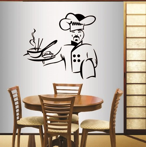 Wall Vinyl Decal Home Decor Art Sticker Asian Cook Chef Food Kitchen Café Restaurant Dining Room Room Removable Stylish Mural Unique Design by In-Style Decals