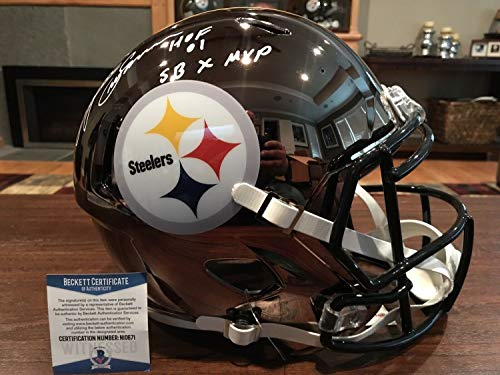 Lynn Swann Autographed Signed Pittsburgh Steelers Chrome Helmet HOF 01 Sb X Mvp Beckett - Certified Signature