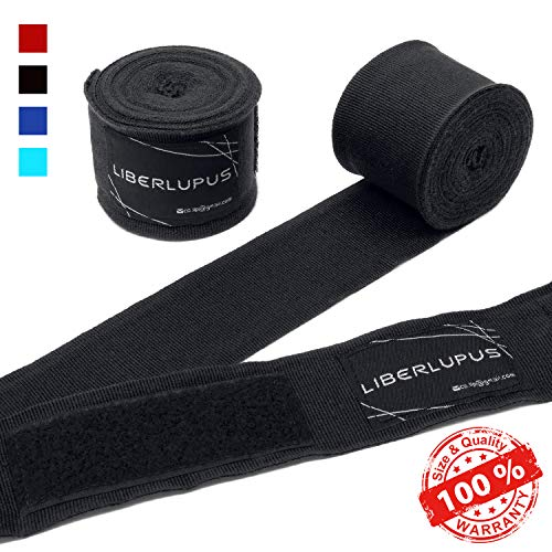 Liberlupus Elastic Professional 120 & 180 Inches Boxing Hand Wraps for Men & Women, Wraps for Boxing Gloves, Handwraps with Hand & Wrist Support for Boxing Kickboxing Muay Thai MMA