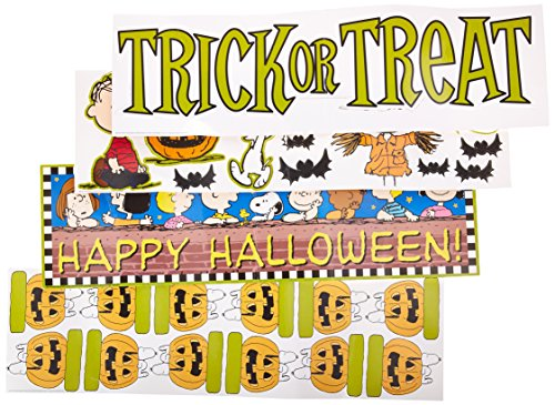 Eureka Peanuts Halloween 'Trick or Treat' Mini Bulletin Board for Teachers Classroom Decorations, 8pc, 6.5'' W x 26'' L -