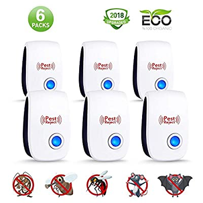 (2018) Ultrasonic Pest Repeller (6 Pack) - Plug in Electronic Repellent, Pest Control, No More Pest, Best Pest Controller for Mice, Mosquito, Spider, Cockroach, Flies, Bed Bugs and Other Insects