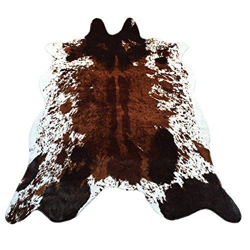 JaYe Large Size Faux Fur Cow Print Rug 4.9x6.6 Feet Faux Cowhide Skin Rug Animal Printed Area Rug Carpet for Home Office Livingroom,Bedroom. (Cow)