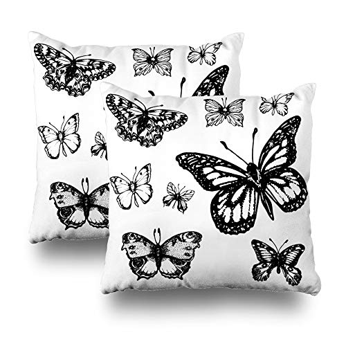 Butterfly Double Sided Paper - Kutita Set of 2 Decorative Pillow Covers 18x18 inch Throw Pillow Covers, Set of Eight Black Butterflies On White Paper Pattern Double-Sided Decorative Home Decor Pillowcase
