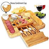 Bamboo Cheese Cutting Board Set - Bonus Condiment Cup - Closing Drawer Tray, 4 Stainless Steel Knives - Flat Wood Rectangle Serving Platter Plate Kit for Fruit and Meat - NutriChef