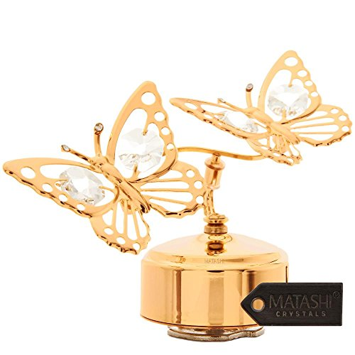 24K Gold Plated Music Box with Crystal Studded Double Butterfly Figurine by Matashi