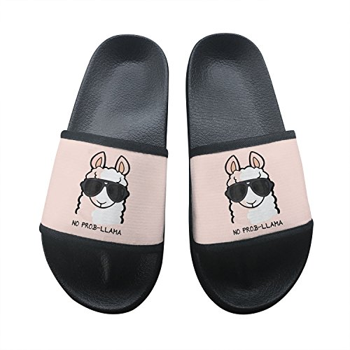 No Prob- Llama Summer Slippers Non-Slip Beach Sandals House Shoes Soft Floor Slipper Open Toe 10 B(M) US from Qhomie